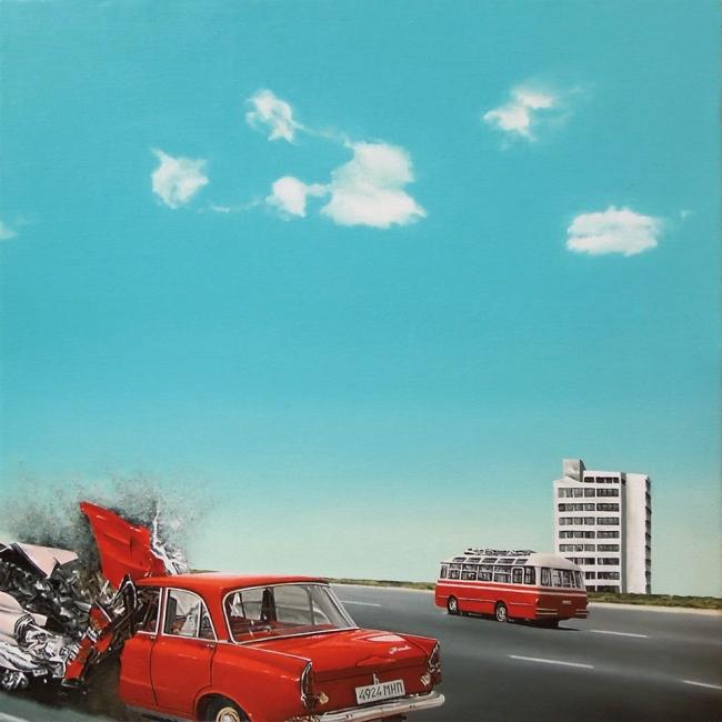 Adamo Dimitriadis, Crash (óleo sobre lino, 54x54 cm.) — Cortesía de la Galería Utopía Parkway