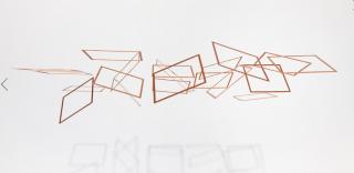 Elias Crespin.  Cuadriláteros Copper 1/3, 2018 Cuivre, nylon, moteurs, ordinateur, interface électronique 80,5 x 64 cm