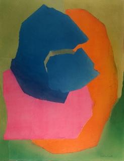Esteban Vicente, Kalani, Hawaii 1969. Collage, papel coloreado y carboncillo sobre cartón. 132 x 101,5 cm. © Galería Elvira González, Madrid — Cortesía de la Galería Elvira González