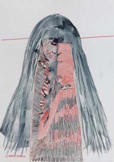 Jaider Esbell  A Kanaimé - da Série KANSPTIPPM, 2019. Caneta posca e tinta natural de jenipapo sobre papel, 70 x 50 cm. — Cortesía de Galeria Millan