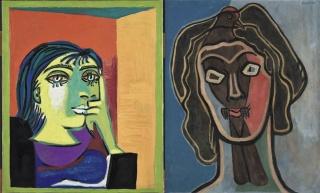 Pablo Picasso, Retrato de Dora Maar, 1937. Musée national Picasso-Paris. © Sucesión Pablo Picasso, VEGAP, Madrid, 2018  Francis Picabia, Habia II, ca. 1938 y ca. 1945. Ursula Hauser Collection, Suiza. © Francis Picabia, VEGAP, Madrid, 2018. Cortesía de la