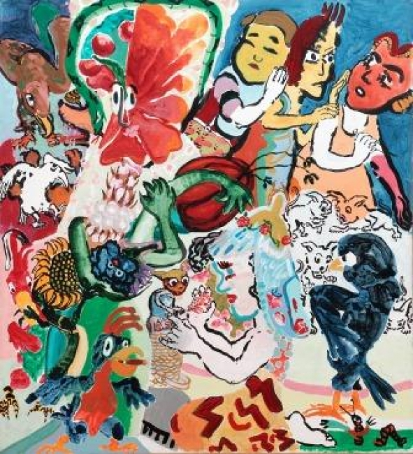 Paula Rego, Lela playing with Gremlin, 1984, acrílico sobre tela, 220 x 200 cm