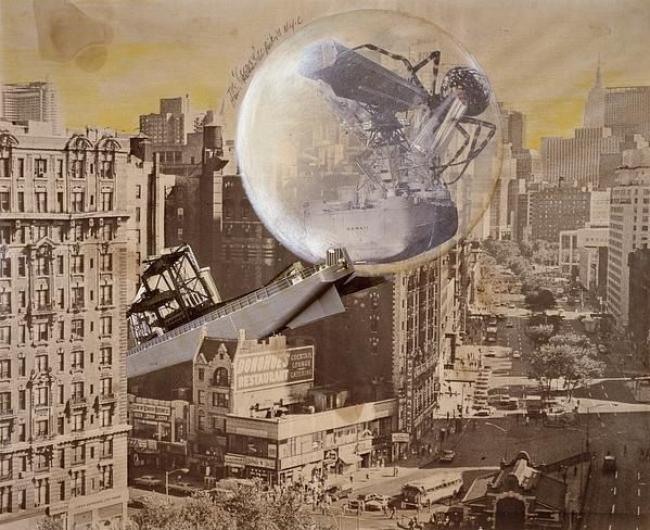Klaus Pinter, The Cocoon, 1971. Fotomontaje compuesto por una copia offset, copias en plata y trama adhesiva realzadas con lapiceros de colores, 51,5 × 63,5 cm [detalle] © Centre Pompidou. Foto © G. Meguerditchian / DIST. RMN-GP