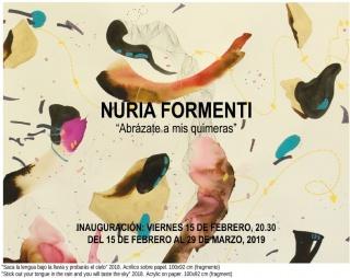 """Nuria Formenti, """"Saca la lengua bajo la lluvia y probarás el cielo"""" 2018. Acrílico sobre papel. 100x92 cm (fragmento) — Cortesía de la Galería Manuel Ojeda"""