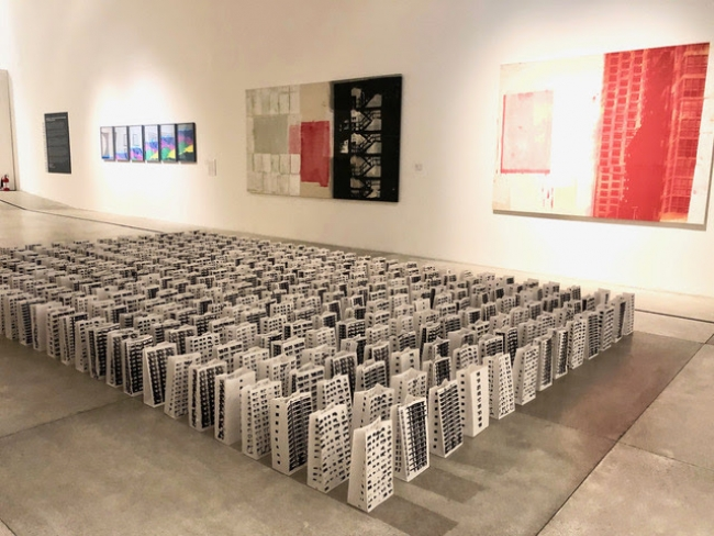 Juan Raul Hoyos, Compound: Installation of 513 recycled paper bags; serigraphy/silk screen painting