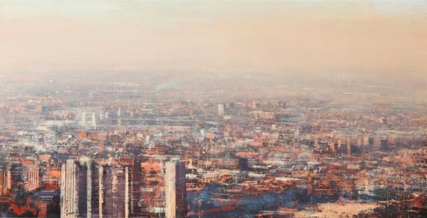 Alejandro Quincoces, Panoramica industriel de Chicago, Huile sur bois, 70x140 cm, 2015