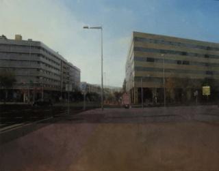 "\""Paisaje urbano, C.71\"" (114x146 cm. Mixta sobre lienzo\"""