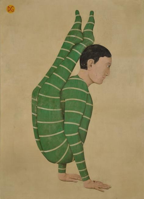 Daniel García - Acróbata Verde - Acrílico sobre lienzo