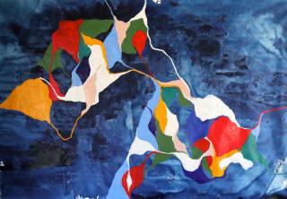 Carlota Roque Martins, Sem Título- série Mapas 1, 2020. Óleo x Tela, 130 cm x 190 cm. — Cortesía de la Galeria de São Mamede