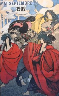 Adrià Gual Queralt (1872-1943). Cartel original. Figures simbòliques. Mai-Septembre 1902, Tinta china y acuarela sobre papel, 141 × 86 cm. — Cortesía de la Sala Parés