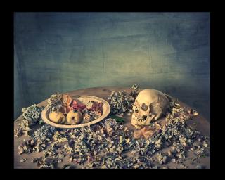Castro Prieto. Naturaleza con cráneo, frutas y hortensias, 2017
