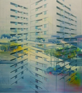 Driss Ouadahi,Transposition, 2016, oil on canvas, 160 x 140 cm.