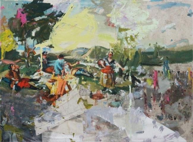 LA MERIENDA 1 (GOYA), 2017, mixta sobre tela, 145 x 200 cm. 57 x 78 3/4 in. Imagen cortesía NH Galeria