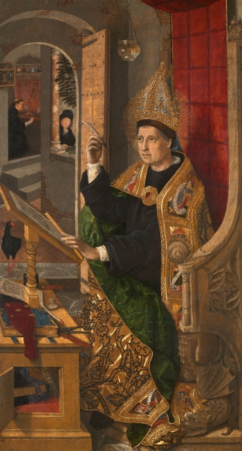 Bartolomé Bermejo, San Agustín en su estudio. Óleo sobre tabla de álamo (arce o tilo), 48,2 x 26,8 cm. 1477 - 1485 Chicago, The Art Institute of Chicago, Mr. and Mrs. Martin A. Ryerson Collection, 1947.393 — Cortesía del MNAC