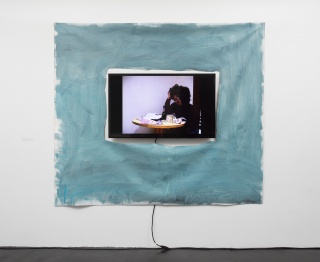 "Trevor Shimizu, Emotional Month, 2000, single channel video, color, sound, 2:44 minutes, 48"" monitor, oil on canvas. Courtesy of the artist and 47 Canal."