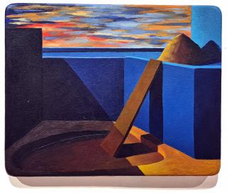 Ángel Padrón, Construcción y excavación, 2000. Óleo sobre lienzo en tabla, 40 x 50 cm. — Cortesía de la Galería Artizar
