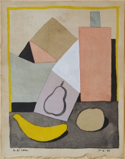 Alfredo Alcaín. Bodegón con botella, plátano y manzana, 1986 – Cortesía de Tiempos Modernos