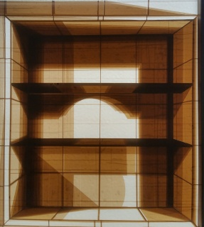 Ficha técnica Espacio de fe (Claudia) Scotchtape / plexyglass 75 X 65 cm 2018. Imagen cortesía  Residency Unlimited