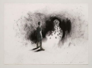 Jaume Plensa, STILL 04, 2020. Mixed media on paper, 20 x 27.5 inches (51 x 70 cm). — Cortesía de Galerie Lelong & Co.