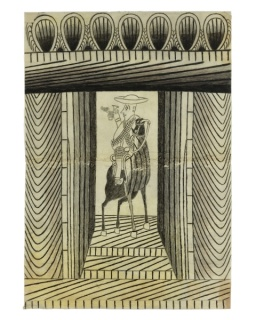 Martín Ramírez, Untitled (Large Cowboy and Rider), c. 1950-53. Wax crayon, graphite, and artist-made black ink on pieced papers. Sheet: 42 1/2 × 35 3/4 inches (108 × 90.8 cm). 125th Anniversary Acquisition. Partial and promised gift of Jill and Sheldon. B