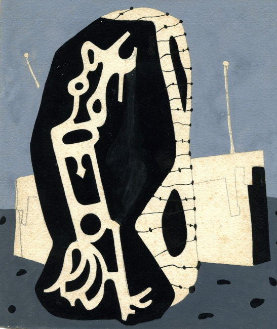 Juan Batlle Planas, Radiografía paranoica, 1936. Témpera y lápiz sobre papel, 19x16 cm. Colección Giselda Batlle. Crédito fotográfico: © Rolando Schere Arq. – Cortesía de la Fundación Juan March