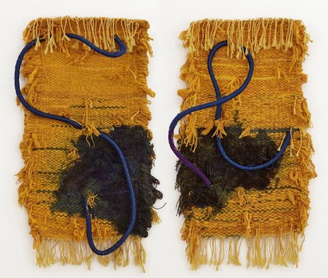 Josep Grau-Garriga, Diptych, 1980. Lana y jute, 120 x 127 cm. — Cortesía de Michel Soskine Inc.