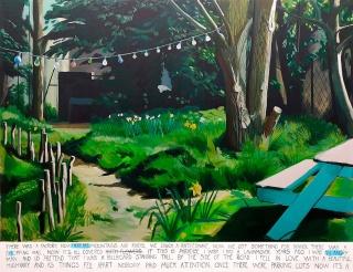 Tomás Pizá, If this is paradise iI wish i had a lawnmover. Acrílico sobre lienzo.190x245 cm., 2018 — Cortesía de la Galería Herrero de Tejada