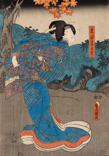"""Utagawa Kunisada, Onoe Kikujiro II/ Shigeyasu tsuma Sayuri, 1852-1853. Tinta sobre papel Medida: 37,7 x 25,8 cm. Procedencia: Colección """"la Caixa"""". Anglada Camarasa. Crédito fotográfico: © David Bonet — Cortesía de Obra Social """"la Caixa"""""""