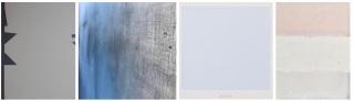 SITO MÚJICA. Cuarteado 01/ Studio Laucke Siebein, 2018. 102 x 72 cm. // JOAN ILL. Salomó, 2019. 120 x 300 cm. // ANTONIO LAZO. Juin, 2018. 50 x 50 cm. // PIETRO CAPOGROSSO. Horizont, 2019. 35 x 27 cm. — Cortesía de L&B contemporary art gallery