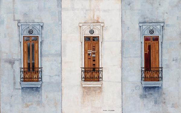 Natalia Sánchez Valdemoros, Triunvirato, óleo sobre lienzo, 60x95cm, 2016
