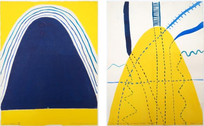 (left) Luisa Correia Pereira, La Montagne est Bleu, 1973, mixed media on paper, 31,6 x 24 cm; (right) Luisa Correia Pereira, Les Chemins de la Montagne Jaune, 1973, mixed media on paper, 31,6 x 24 cm. — Cortesía de Caroline Pagès