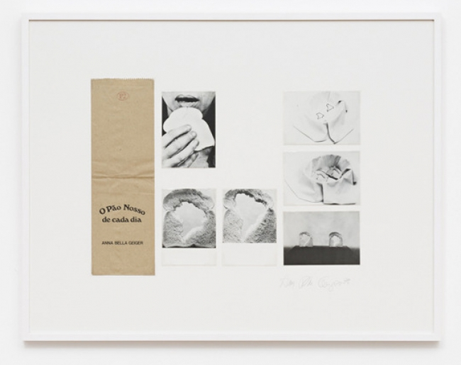 Anna Bella Geiger, Our Daily Bread, Paper bags and postcards, 29 in x 31 in, 1978