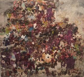 Garikoitz Cuevas, Paisaje, Mixta sobre tela, 100 x 100 cm. — Cortesía de la Sala Parés