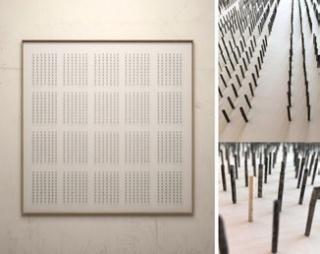 Aurelio San Pedro, 20 episodios oscuros. Técnica mixta en papel. 100 x 100 cm.  — Cortesía del Gremi de Galeries d'Art de Catalunya