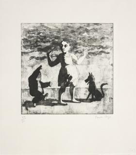 Paula Rego, Menina com homem pequeno e cão, 1987. Col. Fundação de Serralves – Museu de Arte Contemporânea, Porto. Doação da artista em 1989 — Cortesía de la Fundação de Serralves