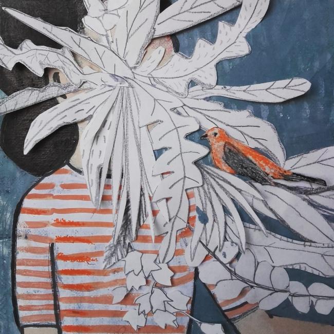 Acompañados II, 20 x 20 cm., técnica mixta sobre lienzo, 2018
