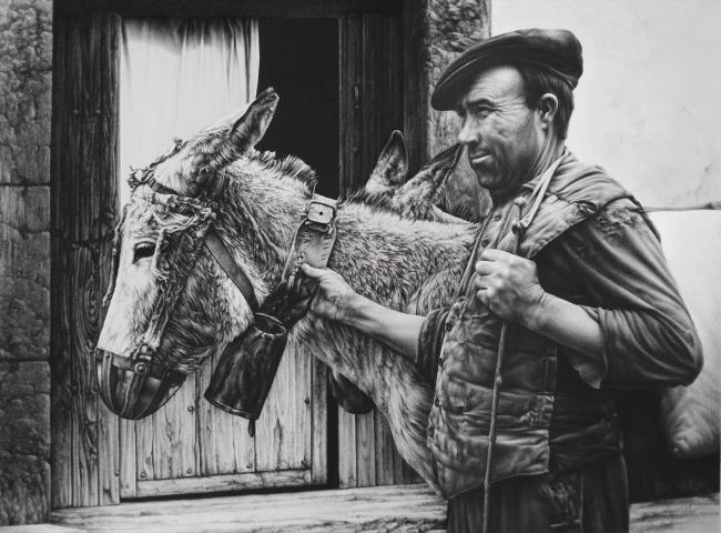 Joaquín Morales Molero. Compañeros. Carboncillo y lápiz Conté. 40 x 56