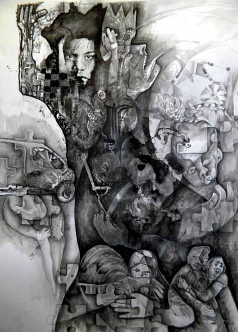 Felipe Alarcón Echenique A la sombra del dolor. Mixta / cartulina. 70 x 50