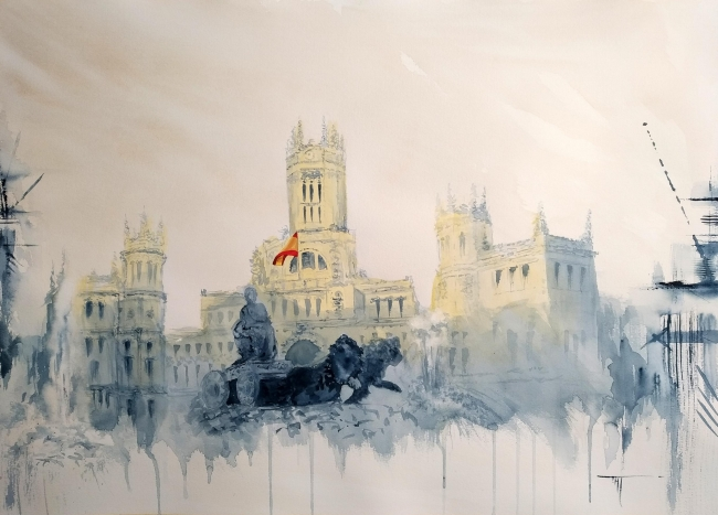 "Medalla de Pintura ""Antonio Casero""  ""Andamios Madrid, La Cibeles"",  de Cristina Agulló Tecles,"
