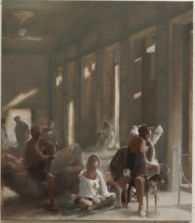 Simon Edmonson, En famille, 2019. Óleo sobre lienzo, 96 x 83,5 cm.
