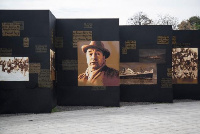 """Roc Blackblock, Detalle del mural en la explanada del Museo de la Memoria en Chile — Cortesía de N"""" Galería"""