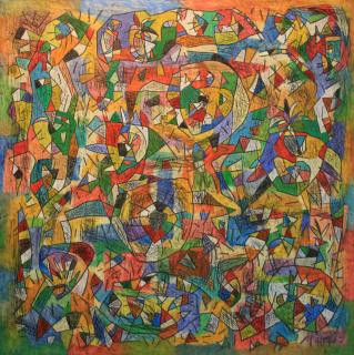 "Sergi Barnils, ""Meravelles de la ciutat celeste, 2018"". Mixta s/tela s/tablón, 150 x 150 cm. — Cortesía de la Galeria Atelier"