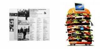 Joan Rabascall // izquierda: Franco hace deporte - Autopistas Concesionaria Española, S.A., 1975 // derecha: Del Big Bang al Big Brother, 2012