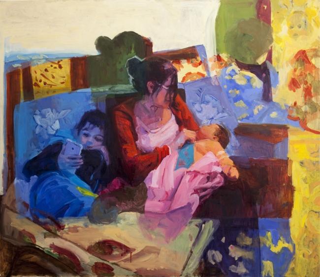 Paula Cecchi. Mamá pulpo óleo sobre tela, 130 x 150cm,  2017. Imagen cortesía Galeria Laura Haber