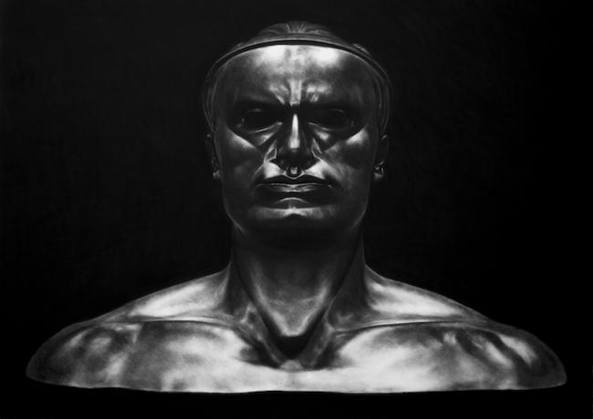 Kepa Garraza, Benito Mussolini, 2016. Pastel sobre papel, 100 x 140 cm. — Cortesía de la Galería Álvaro Alcázar