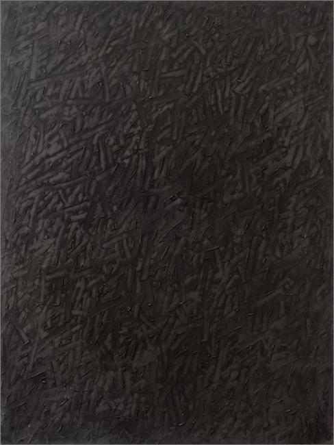 Rafael Canogar, P-56.79, 1979. Óleo sobre lienzo, 200 x 150 cm. — Cortesía de la Galería Álvaro Alcázar