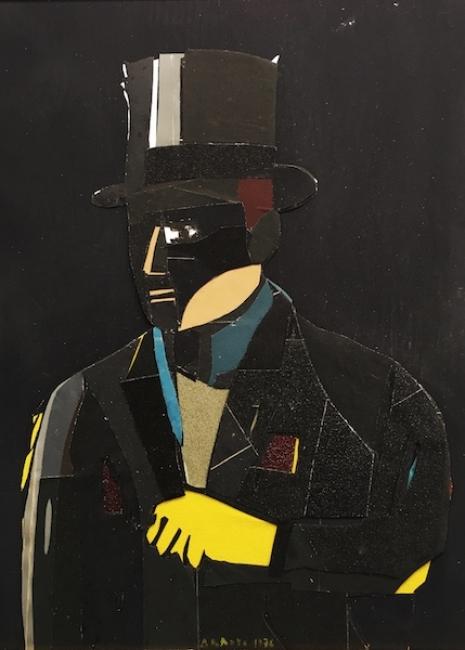 Eduardo Arroyo, Ramoneur, 1976. Collage papel de lija, 105 x 85 cm. — Cortesía de la Galería Álvaro Alcázar