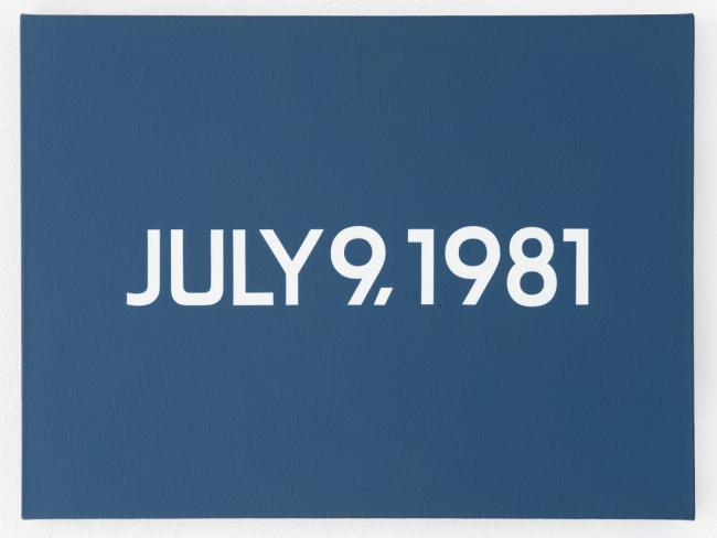 On Kawara , July 9, 1981, 1981, acrylic on canvas, newspaper cover and cardboard box, 46 x 61 cm