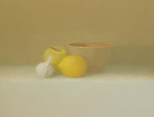 Juan Carlos Lázaro, Ajo, manzana, limón y cuenco, 2014. Óleo-lienzo, 27 x 35 cm.