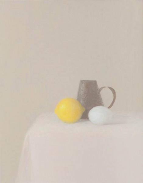 Juan Carlos Lázaro, imón, jarra de hojalata y huevo, 2014-15, óleo/lienzo, 41 x 33 cm.